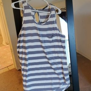 Grey and white tank blouse with front pocket